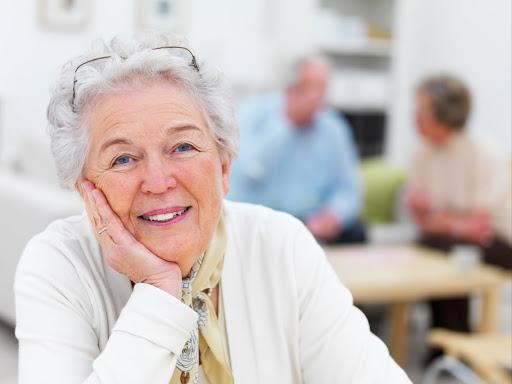 Closeup portrait of a smiling senior woman