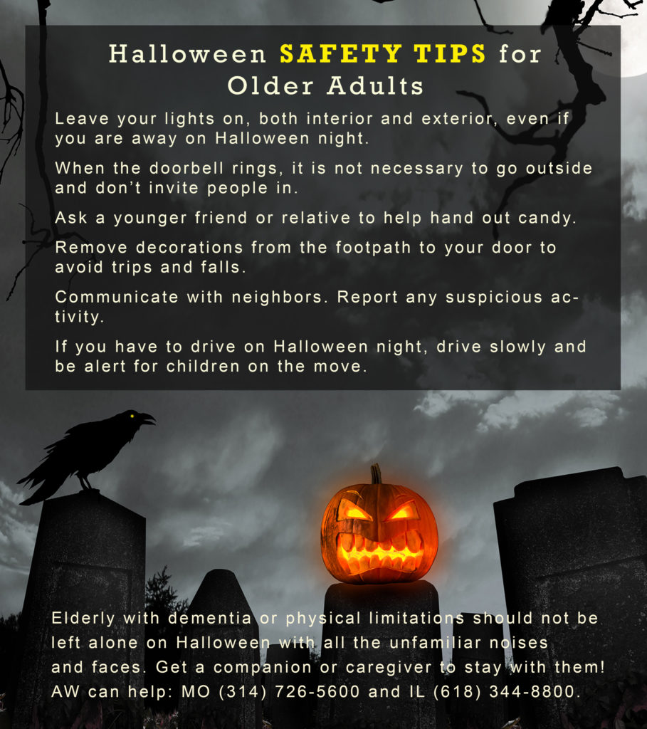 Halloween Safety Tips for Older Adults on spooky night-time background with grinning jack-o-lantern.