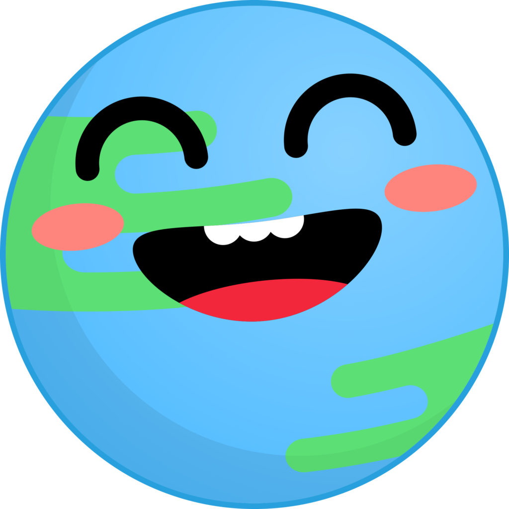 Smiling stylized blue and green earth globe.