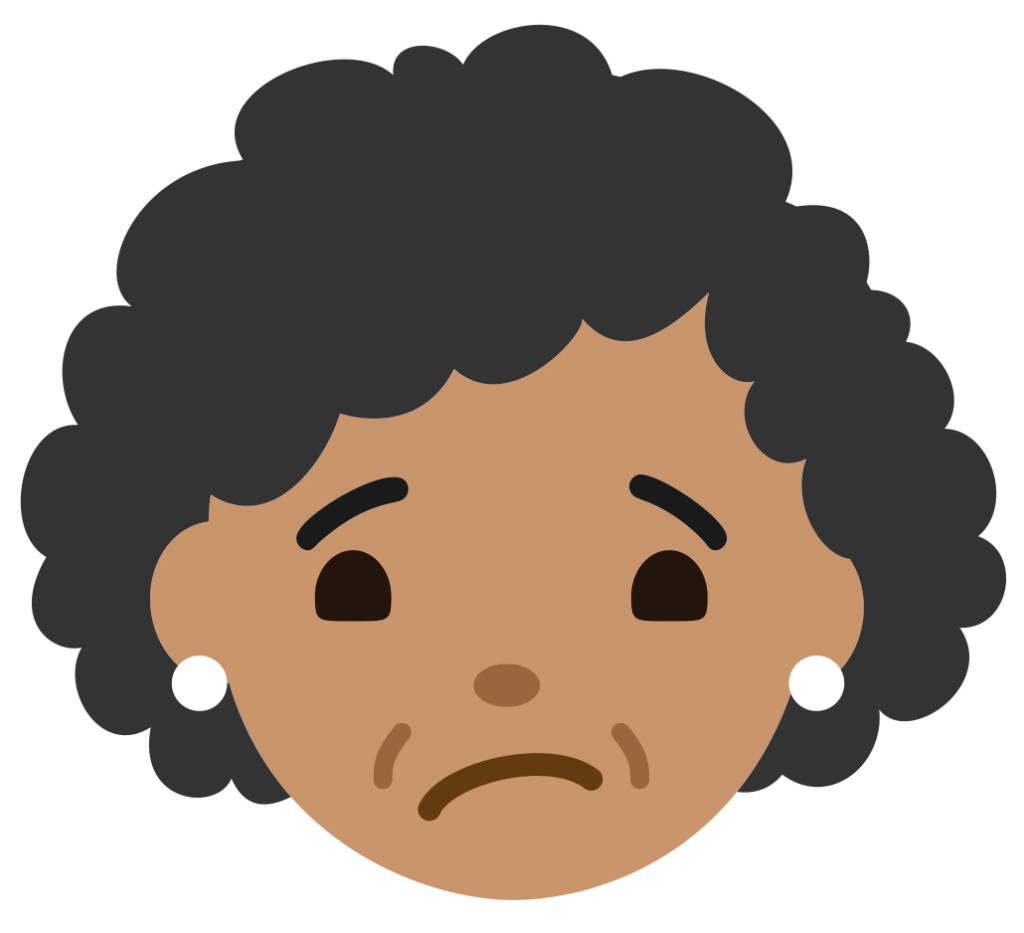 Cartoon face looks a little worried about getting a flu shot.