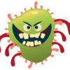 Icky green flu bug with evil eyes and evil toothy grin