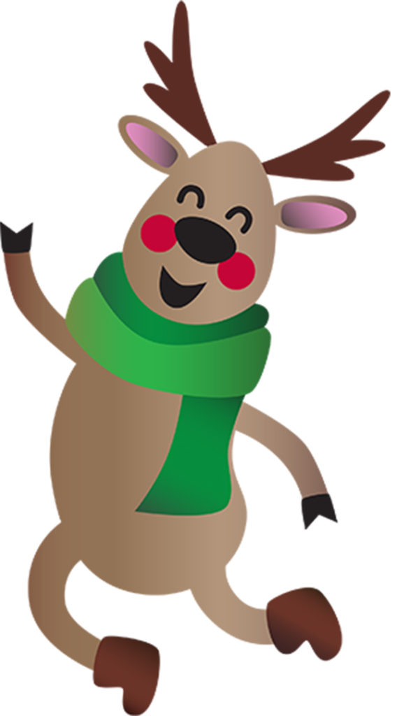 Dancing Reindeer wearing a green scarf and boots.