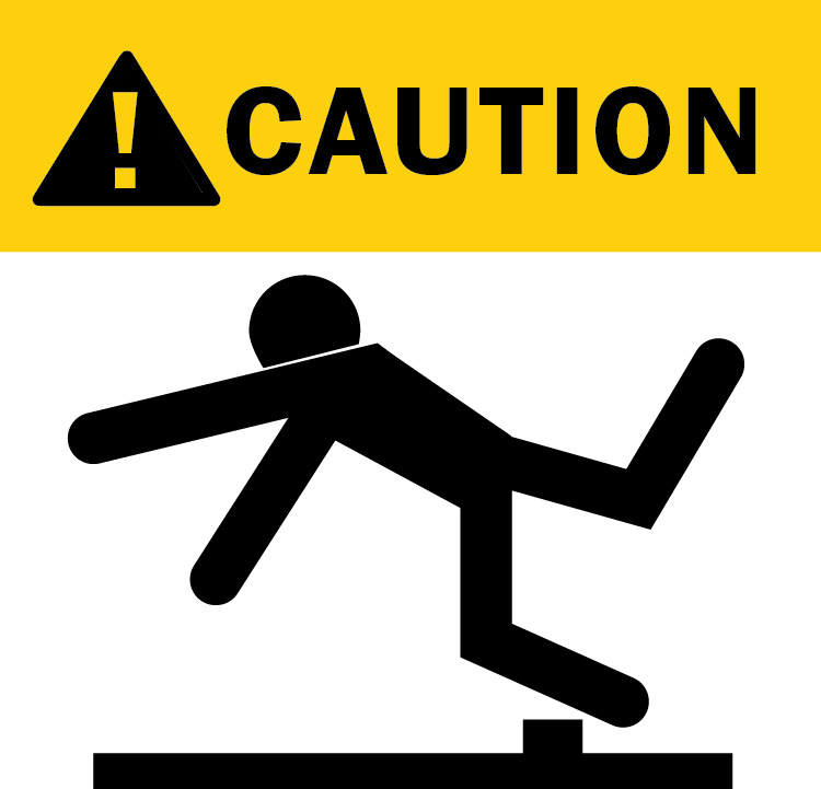 Warning of trip and fall accident graphic image in bold yellow and black