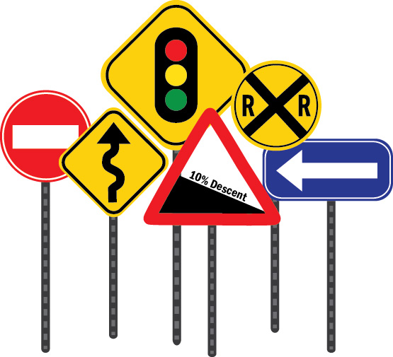 Graphic image of an assortment of roadway signage commonly seen for giving directions to travelers
