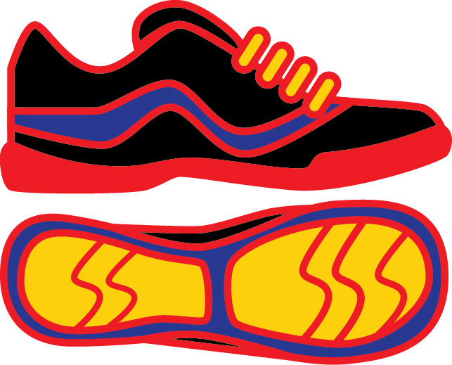Athletic shoes profile and sole graphic image