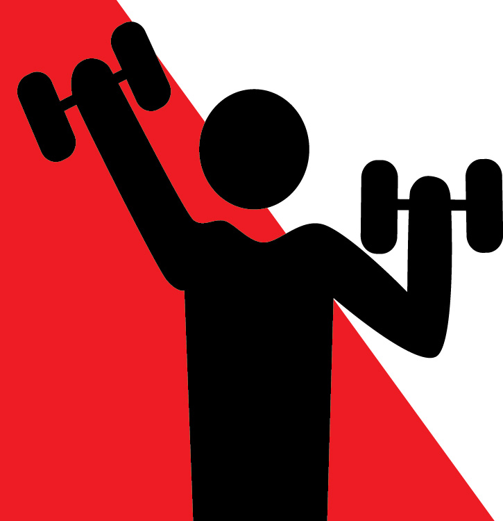 Strength and balance graphic image of a man's silhouette lifting weights in each hand.