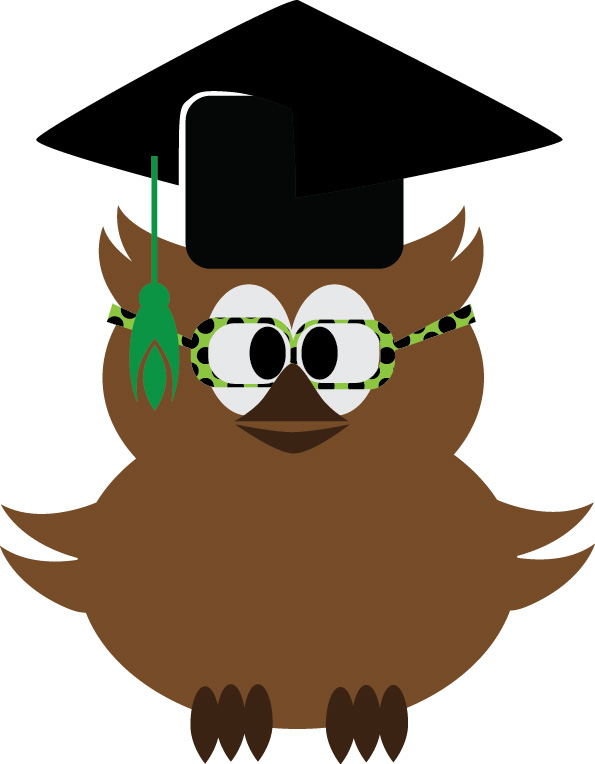 Wise owl wearing glasses and graduation cap.