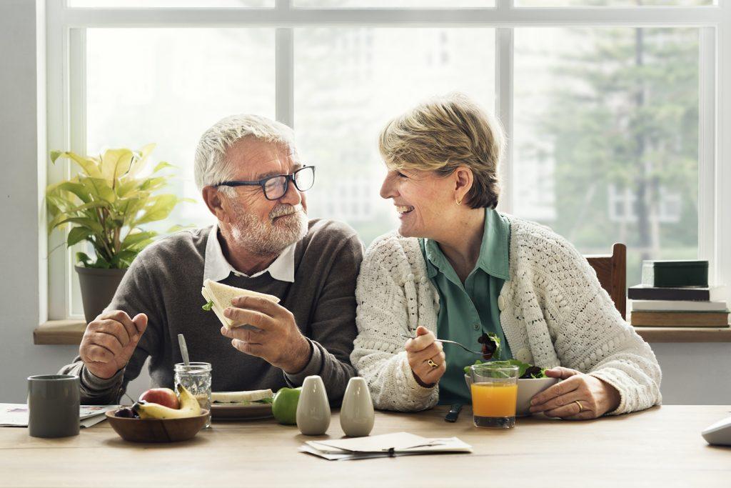 Senior Couple enjoying lunch together.