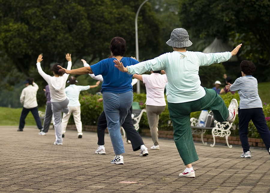 Elderly Women in a Tai Chi class