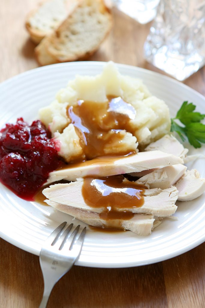 Delicious-looking turkey dinner plate.