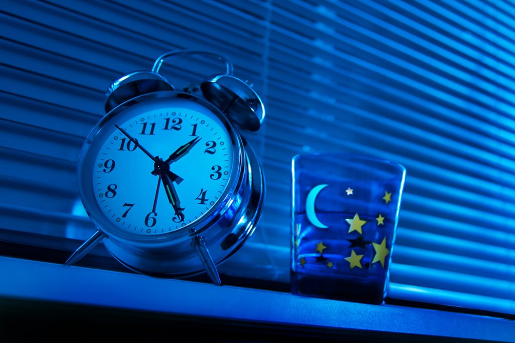 Alarm clock at night time