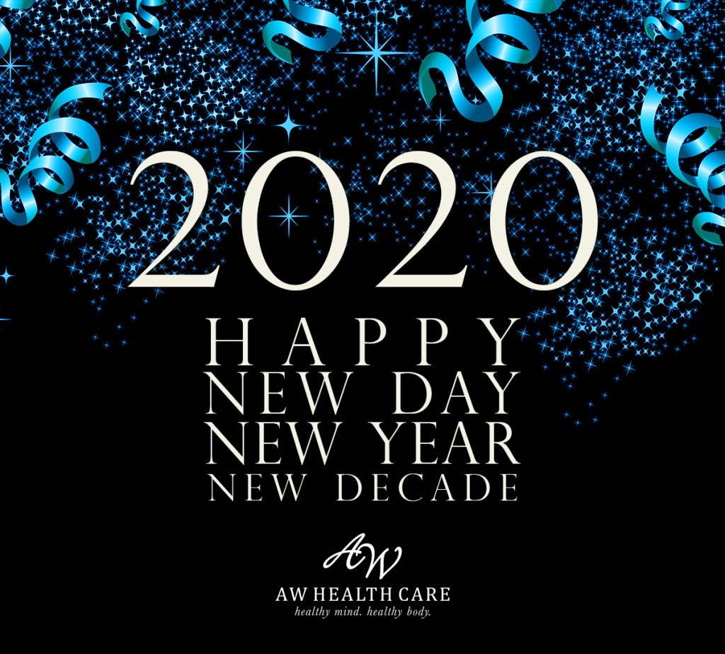 2020 Happy New Day, New Year, New Decade white lettering on deep blue background with blue fireworks.