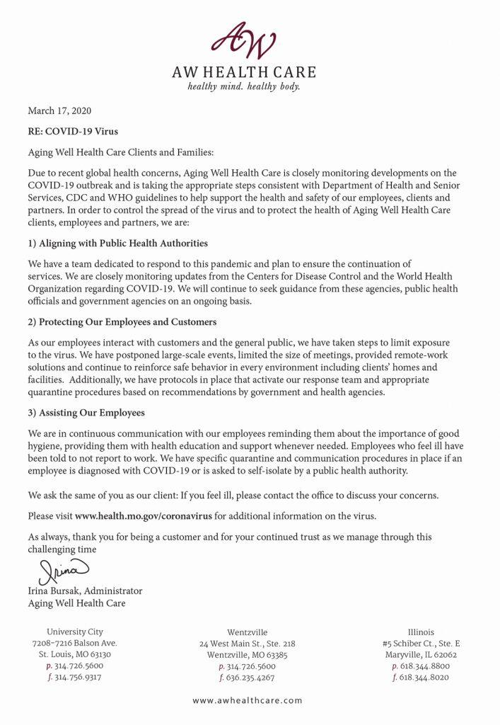 Corona Virus Letter 03 17 2020