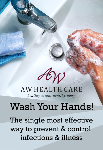 Washing hands with warm water and sudsy soap