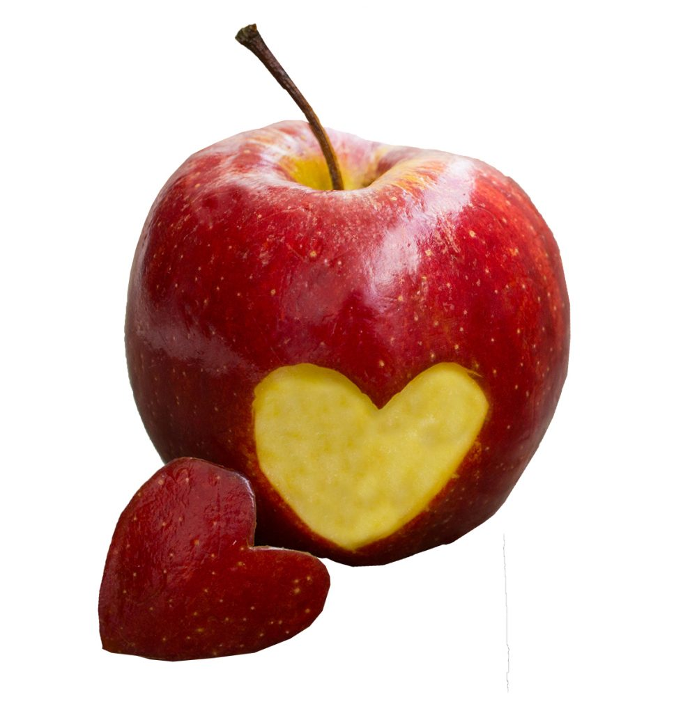 Apple with engraved heart shape