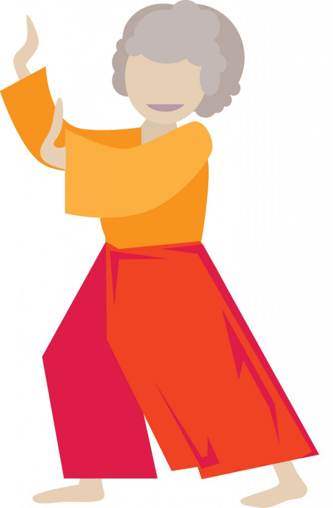 Illustration of smiling senior woman in a Tai Chi standing pose.