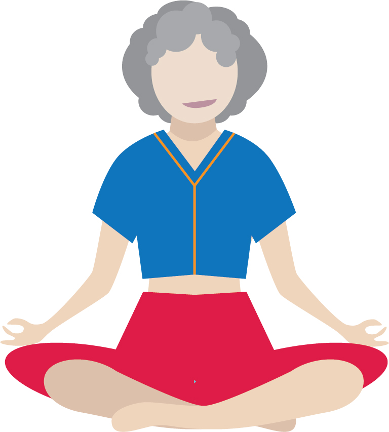 Illustration of smiling senior woman in seated yoga pose.